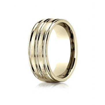 18k Yellow Gold 8mm Comfort-Fit Satin-Finished High Polished Center Trim and Round Edge Carved Design Band