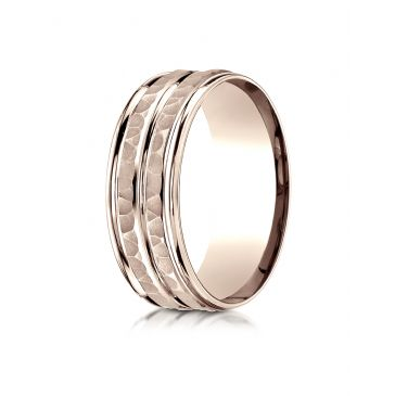 14k Rose Gold 8mm Comfort-Fit Hammer-Finished High Polished Center Trim and Round Edge Carved Design Band