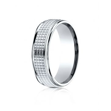 14 Karat White Gold 7mm Comfort-Fit High Polish Round EdgeCross Hatch Center Design Band