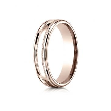 14k Rose Gold 4mm Comfort-Fit  High Polished finish with a round edge and milgrain Carved Design Band
