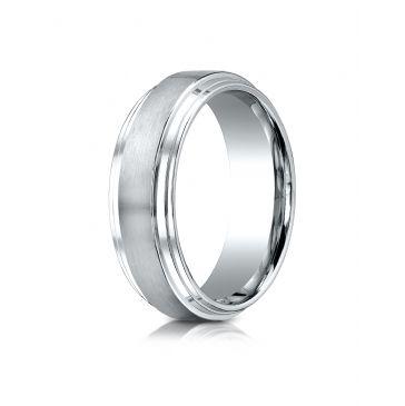 Platinum 8mm Comfort-Fit Satin-Finished Step Edge Carved Design Band