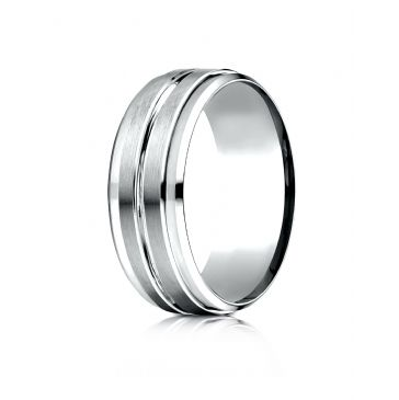 18k White Gold 8mm Comfort-Fit Drop Bevel Satin Center Cut Design Band
