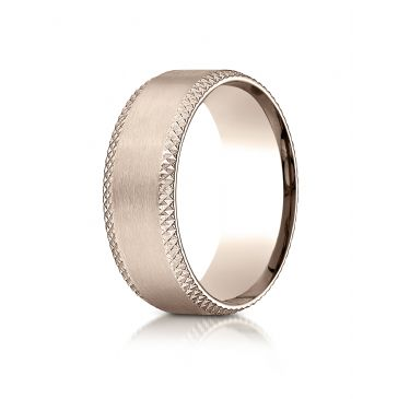 14k Rose Gold 8mm Comfort-Fit Satin-Finished Cross Hatched Beveled Edge Carved Design Band