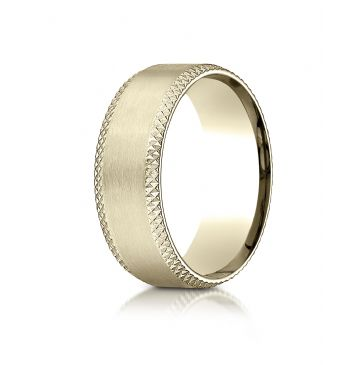 18k Yellow Gold 8mm Comfort-Fit Satin-Finished Cross Hatched Beveled Edge Carved Design Band