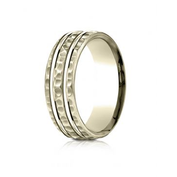 14 Karat Yellow Gold 7.5mm Comfort-Fit Hammered Finish Double High Polish Cut Design Band