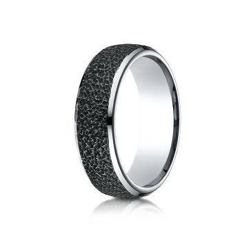 Cobaltchrome 7.5mm Comfort-Fit with Black Micro hammer Finish and High Polish Edges Design Ring