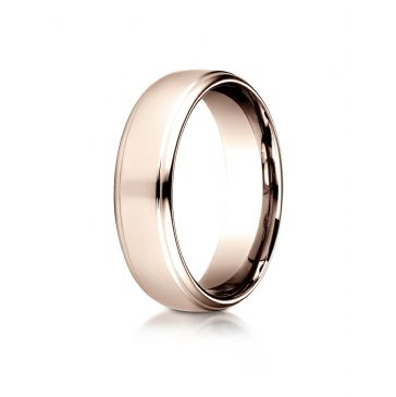 14 Karat Rose Gold 6.5mm Comfort-Fit Drop Edge High Polish Design Band