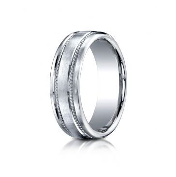 18kWhite Gold 7.5mm Comfort-Fit Satin-Finished Rope Carved Design Band
