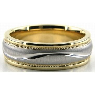 18K Gold Two Tone 6.5mm S Diamond Cut Wedding Bands 233