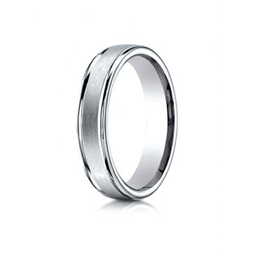 14k White Gold 4mm Comfort-Fit Satin-Finished High Polished Round Edge Carved Design Band