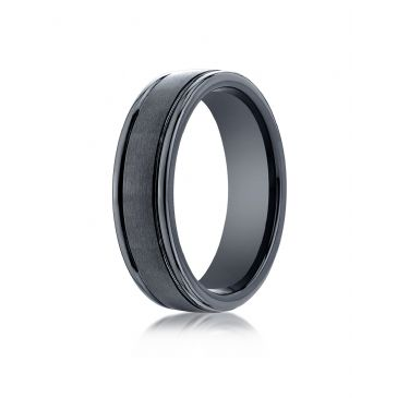 Ceramic 6mm Comfort-Fit Satin-Finished Round Edge Design Ring