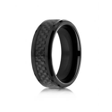 Cobaltchrome 8mm Comfort Fit Ring with Black carbon fiber Inlay