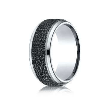 Cobaltchrome 9mm Comfort Fit Black Micro-hammered Ring