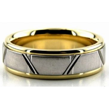 18K Gold Two Tone 6.5mm Trapezoid Diamond Cut Wedding Bands 224