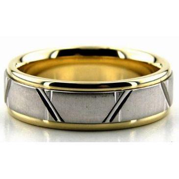 18K Gold Two Tone 6.5mm Trapezoid Diamond Cut Wedding Bands 224