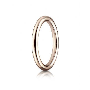 14k Rose Gold 2.5mm Comfort-Fit High Polished Round Carved Design Band