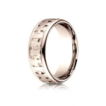 14k Rose Gold 7.5 mm Comfort Fit Round Edge Celtic Cross Design Band