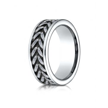 Cobaltchrome 8mm Comfort Fit Ring with zippered pattern center