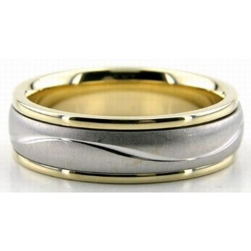 18K Gold Two Tone 6mm Diamond Cut Wave Wedding Rings 225