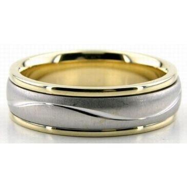 18K Gold Two Tone 6mm Diamond Cut Wave Wedding Rings 225