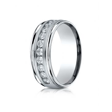 18K White Gold 8mm Comfort-Fit Channel Set 12-Stone Diamond Eternity Ring (.96ct)