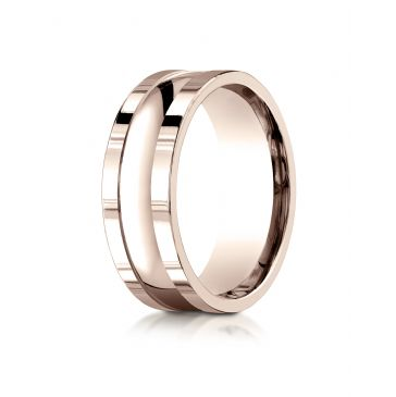 14k Rose Gold 8mm Comfort-Fit High Polished Squared Edge Carved Design Band