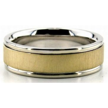 18K Gold Two Tone 6.5mm Flat Wedding Bands Rings Comfort Fit 200