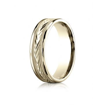 10k Yellow Gold 6mm Comfort-Fit Harvest of Love Round Edge Carved Design Band