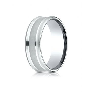 18k White Gold 7.5mm Comfort Fit Satin Finish Center Reverse Beveled Edge Design Band