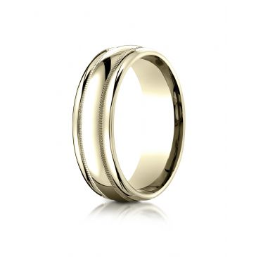 14k Yellow Gold 7.5mm Comfort-Fit  Milgrain high polish carved Design Band