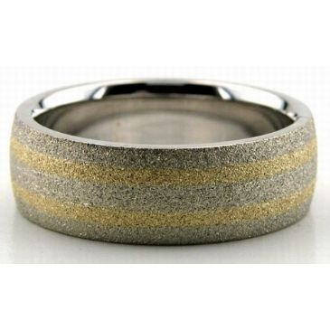 18K Gold Two Tone 7mm Double Gradient Wedding Bands 214