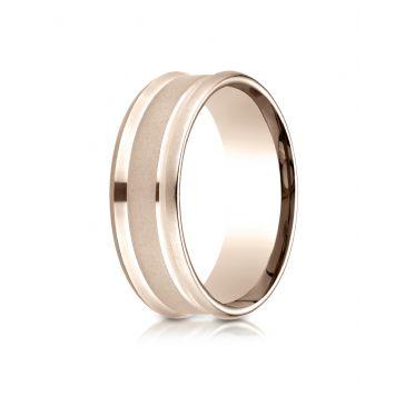14k Rose Gold 7.5mm Comfort Fit Satin Finish Center Reverse Beveled Edge Design Band