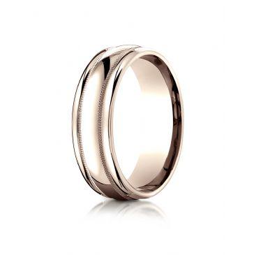 14k Rose Gold 7.5mm Comfort-Fit  Milgrain high polish carved Design Band