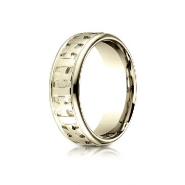 18k Yellow Gold 7.5 mm Comfort Fit Round Edge Celtic Cross Design Band