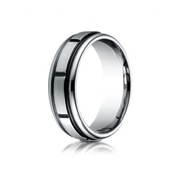 Cobaltchrome 7mm Comfort-Fit Satin-Finished Round Edge Blackened Sectional Design Ring