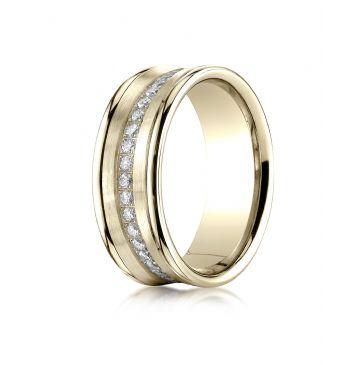 18k Yellow Gold 7.5mm Comfort-Fit Pave Set 16-Stone Diamond Ring (.32ct)