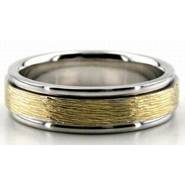 18K Gold Two Tone 6.5mm Rough Finish Wedding Bands Rings 201