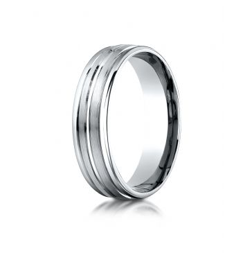 18k White Gold 6mm Comfort-Fit Satin-Finished High Polished Center Trim and Round Edge Carved Design Band