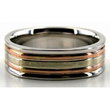 18K Gold Two Tone 6.5mm Square Shape Layered Wedding Bands 226