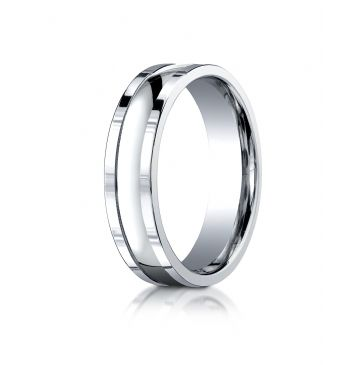 18k White Gold 6mm Comfort-Fit High Polished Squared Edge Carved Design Band