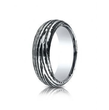 Cobaltchrome 7mm Comfort Fit Tree Bark Patterned Ring