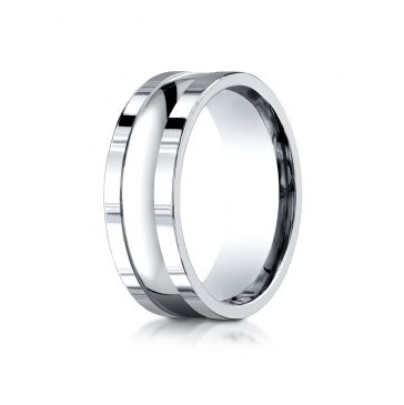18k White Gold 8mm Comfort-Fit High Polished Squared Edge Carved Design Band