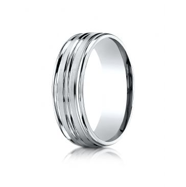 18k White Gold 7mm Comfort-Fit Satin-Finished High Polished Center Trim and Round Edge Carved Design Band
