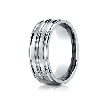 14k White Gold 8mm Comfort-Fit Satin-Finished High Polished Center Trim and Round Edge Carved Design Band