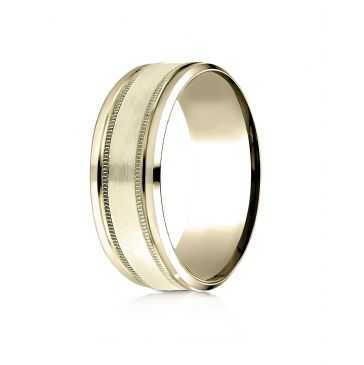14 Karat Yellow Gold 8mm Comfort-Fit Drop Bevel Satin Finish Milgrain  Design Band