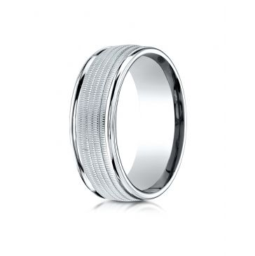 10k White Gold 8mm Comfort-Fit  multi milgrain center high polish round edge Design band