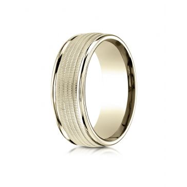 10k Yellow Gold 8mm Comfort-Fit  multi milgrain center high polish round edge Design band