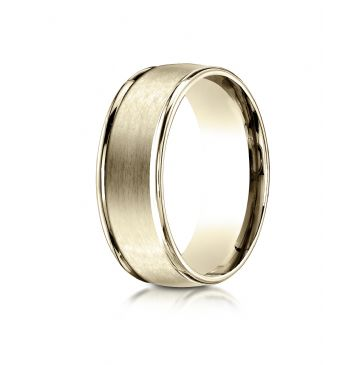 18k Yellow Gold 8mm Comfort-Fit Satin Finish High Polished Round Edge Carved Design Band