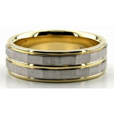 18K Gold Two Tone 7mm Facets Wedding Bands Rings Comfort Fit 215
