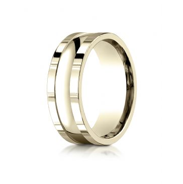14k Yellow Gold 8mm Comfort-Fit High Polished Squared Edge Carved Design Band